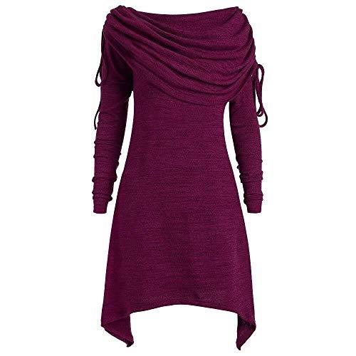 2019 Dameskleding plus maat mode vrouw solide Modernas gerafft lang over vouwen halsband tuniek onregelmatige bovenstuk blouse trui