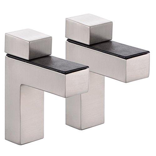 KES Escuadras para Estanterias Escuadra Madera Soporte Estante Cristal Ajustable Metal Sólido Pared Montaje, 2 Piezas, Cepillado, HSB301A-2-P2