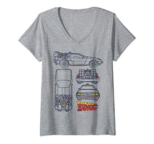 Women' V Neck DeLOrean Blueprint Logo V-Neck T-Shirt, Gray