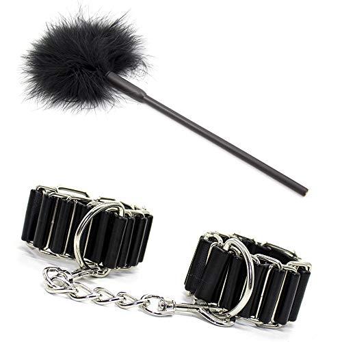Black Feather Kitzeln Eisen Ring Armband Bońdáge Soft Hand Pat PU Leder Paddel Massage Paar Geschenk Spielzeug Werkzeugklappe neutral Spielen