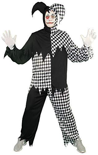 Foxxeo schwarz weißes Horror Clown Kostüm für Herren - Größe M-XXL - Halloween Horror Kostüme Erwachsene Fasching Karneval, Größe:XXL