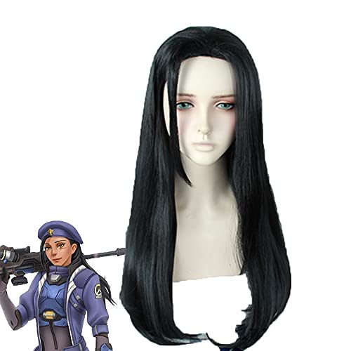 Game Ow Overwatch Young Ana Amari Wigs Cosplay Costume 60Cm Long Black Synthetic Hair Wig Pelucas