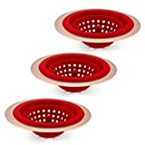 COOK with COLOR Set of 3 Sink Strainers, Flexible Silicone Kitchen Sink Drainers, Traps Food Debris and Prevents Clogs, Large Wide 4.5' Diameter Rim – Red and Copper