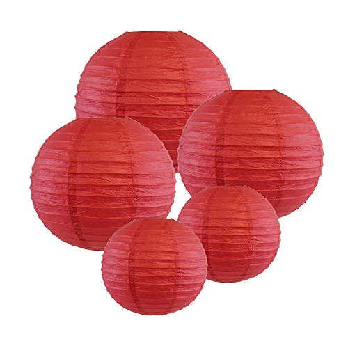Just Artifacts (DARK RED) Chinese/Japanese Paper Lanterns (Assorted: (2) 8inch, (2) 12inch, (1) 16inch) - Click for more colors!