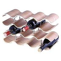 ワインラック カウンター竹14本のボトルワイン棚ディスプレイスタンド、家庭用バーやOfficeの波状ワインキャビネット家具デコレーションクラフト、42.5x15.5x24cm