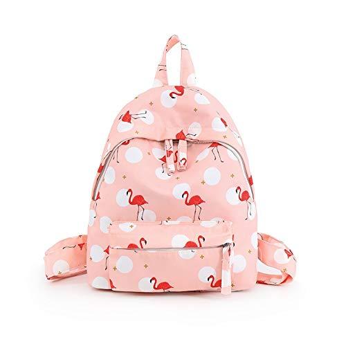 HKHJN Frauen Rucksäcke Adrette Flamingo Druck Rucksack wasserdichte Nylon Harajuku Schultasche for Teenager Mädchen Kleine Reisetaschen (Color : Pink, Size : L26W10H30CM)
