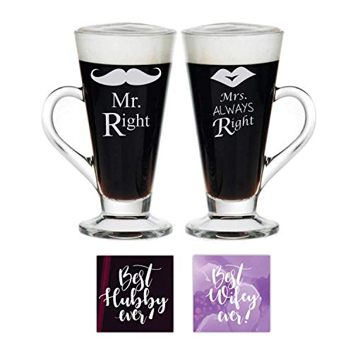 YaYa Cafe Anniversary Gifts for Couple,Mr Right Mrs Always Right Husband Wife Couple Mugs Glass Tea Cups Set of 2 With Coasters