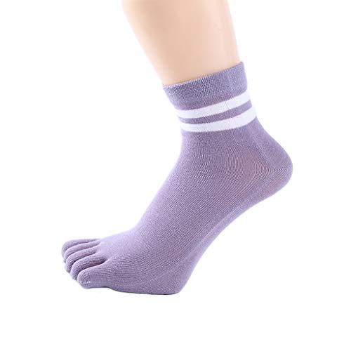 GDSMTG Mujer Tubo Medio Antideslizante Yoga Calcetines del Dedo del algodón Gruesa de Las señoras Cinco Dedos Calcetines Deportivos Calcetines Aptitud Mecha. (Color : Purple, Size : 5 Pairs)