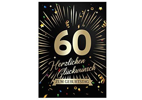 Friendly Fox Geburtstagskarte runder Geburtstag - 60. Geburtstag Glückwunschkarte zum Geburtstag - große Happy Birthday Karte inkl. Umschlag - Klappkarte 60 Geburtstag Karte Männer Frauen