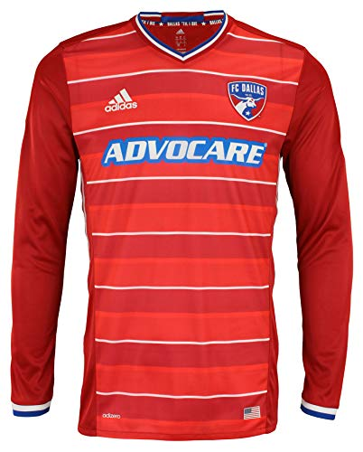 adidas Men's MLS Cllimacool Authentic Long Sleeve Jersey, FC Dallas- Power Red Medium