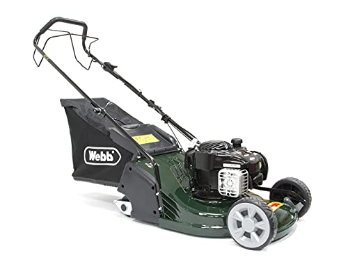 Webb Supreme WERR17SP Self Propelled Petrol Rotary Lawnmower with Rear Roller, 6 Cutting Heights, 43cm Cutting Width and 60L Collection Bag - 2 Year Guarantee