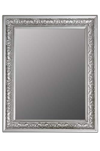 elbmöbel Wandspiegel Spiegel Antik Stil Barock mit Facettenschliff - XL Ankleidespiegel Ganzkörperspiegel Garderobenspiegel Holzrahmen, Farbe:Silber, Größe:62 x 52 cm