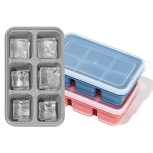 okdeals 3Pack Ice Cube Trays, Silicone Mini Ice Molds Reusable Ice Cubes Mold with Removable Lids for Whiskey Cocktail Juice Beverages