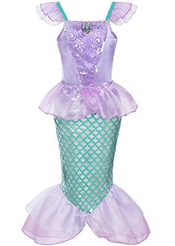 Geplaimir Disfraz infantil de sirena, disfraz de Ariel para niñas, disfraz de princesa, disfraz de princesa, disfraz de escamas de pez, cumpleaños, fiesta, traje de baño, talla 016L (5-6 años)