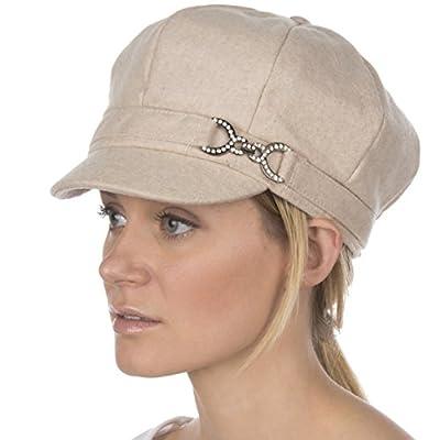 Sakkas 305BC Jessica Wool Newsboy Cabbie Hat with Rhinestone Buckle - Beige - One Size