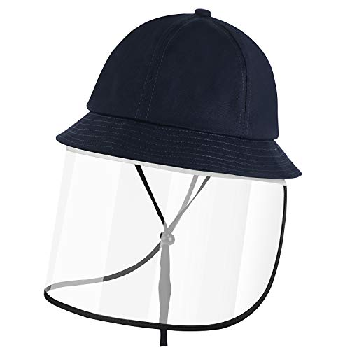 SCIONE Kids Sun Hats with Removable Full Face Visor Shield Dustproof UPF50+ Protective Summer Bucket Hat for Boys Girls 49-52 cm (Black, L-20-21.3'(fits 3-6 Years))