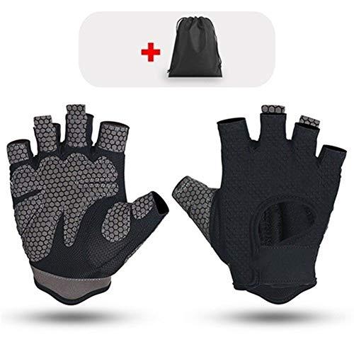 YANODA Respirant Fitness Gants Silicone Palm Dos Creux Gym Gants Haltérophilie Workout Haltère Culturisme Accessorie Protect Hands (Color : Black, Size : M)