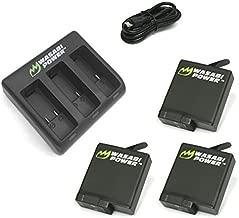 Wasabi Power Battery (3-Pack) & Triple Charger for GoPro HERO6, HERO5, HERO 6, HERO 5 Black (v03 for all Firmware Updates) (3 Batteries (v03) + Triple Charger)