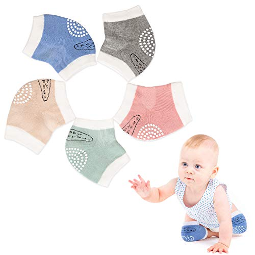 Baby Crawling Anti-Slip Knee Best Infant Gift, Unisex Baby Toddlers Kneepads 5 Pairs