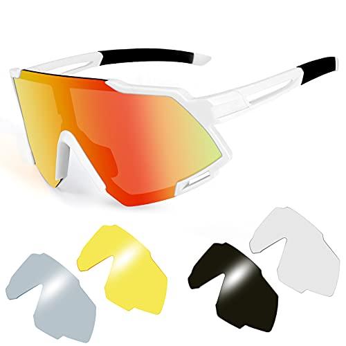 Gafas de Bicicleta Polarizadas KNMY, con Pantalla Grande para Gafas de sol con Puente Nasal Ajustable, Utilizadas para Ciclismo, Carrera, Escalada, Golf, etc.