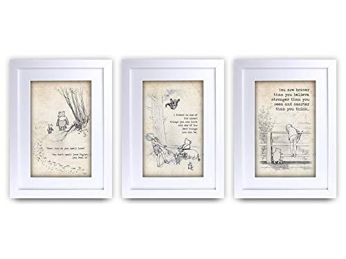 HWC Trading Winnie Puuh Set mit 3 x A4 gerahmtem Zitat Kinderzimmer Druck Baby Dusche Zimmer Geschenke Neugeborenes Schlafzimmer Geschenk Druck Foto Bild Display