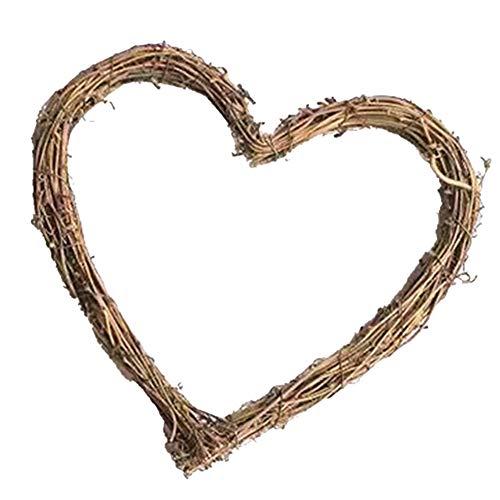 Ghirlanda di vimini in rattan, a forma di cuore, ghirlanda di vite, per feste di nozze rustiche, decorazione da appendere, 20 cm