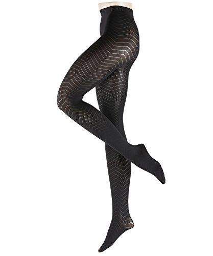 ESPRIT Damen Strumpfhosen Zigzag 80 DEN, Baumwollmischung, 1 Stück, Schwarz (Black 3000), Größe: 36-38