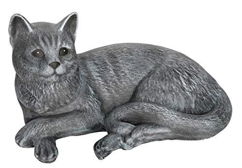 Tiefes Kunsthandwerk Steinfigur Katze liegend - Schiefergrau, Dekofigur, Gartenfigur, frostsicher