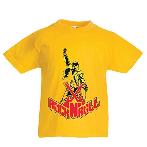 lepni.me Camiseta para Niño/Niña Rock and Roll para Siempre, Conjunto de Concierto de la Banda de Rock. (1-2 Years Amarillo Multicolor)