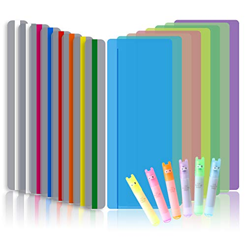 Koogel 16Pcs Reading Guide Strips, 2 Sizes Reading Ruler Reading Tracking Highlight Strips Colored Overlays Bookmark Assorted Colors Helps with Dyslexia