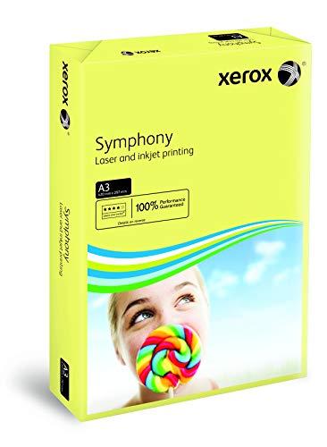 Xerox 003R91957 - Papel de impresión de color Symphony, Din A3, 80 g/m², 500 holas para impresora de inyección de tinta y láser, amarillo