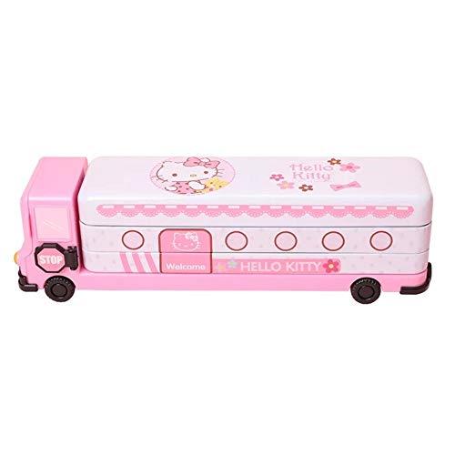 Hello Kitty Pencil Case Two-layer Tin Box+Sharpener Kid Student School Stationery Car Shape (white)