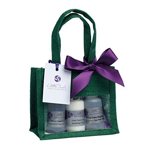 Organic foot care gift set for dry and tired feet with peppermint & tea tree foot spray foot cream and foot soak for dry skin and cracked heels a foot care gift in reusable eco-friendly bag