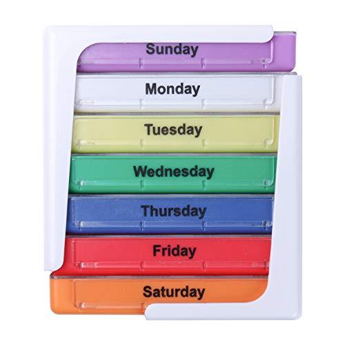 PuTwo Pastillero 7 días 28 compartimentos Pastillero Organizador en Torre Semanal Pastillero Tower Apilable Medicamentos Organizador Grande Dosificador de Medicamentos Pastillas- Multicolor