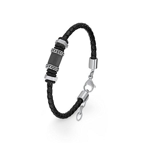 s.Oliver Herren-Armband 20+2 cm Beads Edelstahl Leder 22 cm 2015068