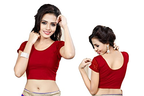 Indianstore24 Blouse Bluse Saree Bollywood Wedding Hochzeit Sari Kleid Damen Indian ganz Casual Birthday Crop top fertig genäht Readymade gestickt Dehnbar Stretchable Material Women Party wear Free Size Oberteil