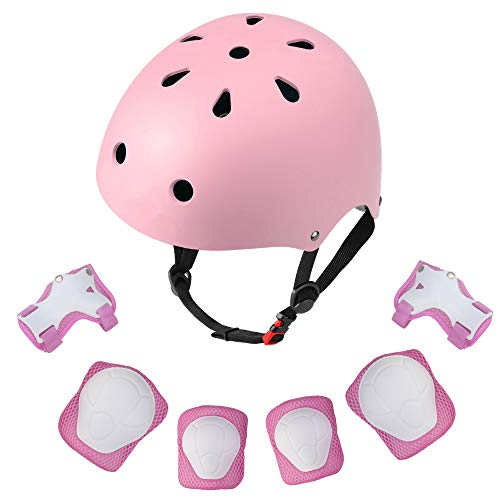 Dostar Adjustable Toddler Helmet with Protective Gear Set for 3-8 Years Girls Boys Child Helmet Kids Elbow Knee Pads Wrist Guards Roller Bicycle BMX Cycling Scooter Skateboard Bike Helmet for Kids