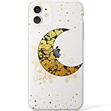 Mertak Clear Case Compatible with iPhone 12 Pro Max Mini 11 SE 10 Xr Xs 8 Plus 7 6s 5s Crescent Moon Blossom Flowers Cover Gold Floral Celestial Silicone Slim TPU Flexible Lightweight Protective