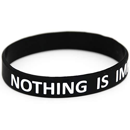 Extiff Armband schwarz Nothing is unmöglich Silikon/Gummi Herren Damen Kinder Sport, Fitness, Krafttraining, Crossfit, Workout, Gym