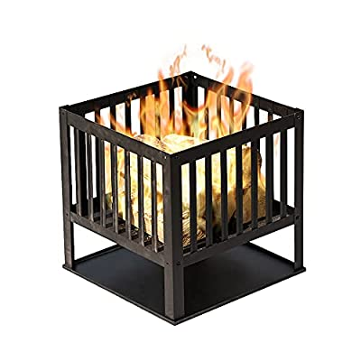 FiNeWaY Stunning Black Sqaure Fire Pit Log Burner Heater Bowl Basket with Legs- For Garden Camping BBQ Picnics Holiday Festivals Beach Patio Outdoor by FiNeWaY