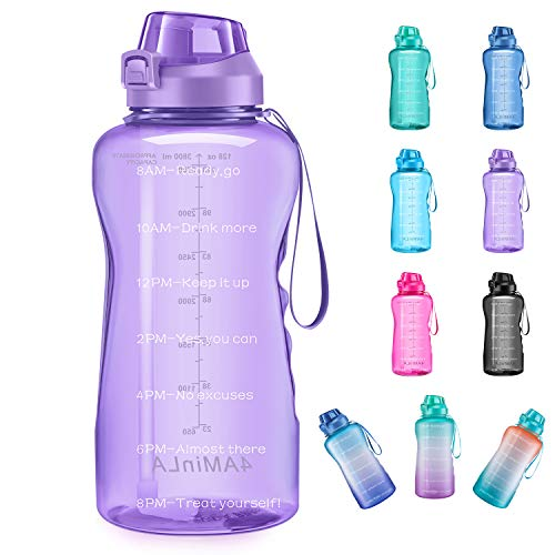4AMinLA Motivational Water Bottle Gallon Jug with Straw and Time Marker Large Capacity Leakproof BPA Free Fitness Sports Water Bottle (Purple)