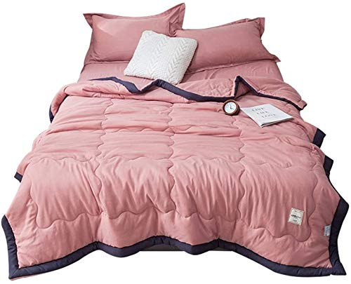 Softness Antibacterial Machine Washable Quilt For Sofa Bed Blanket Throw Pink Yellow Blue Grey Heart Forest B (Color : A, Size : King)
