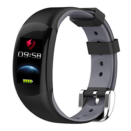 YWYU Smart Watch LEMFO LT02 Smart Band 2 IP68 Impermeable Bluetooth Fitness Pulsera Charm Hombre Mujer Pulsera Relojes para Xiaomi Mi Wrist Band Reloj GPS Incorporado para iOS Android (Color : Gray)