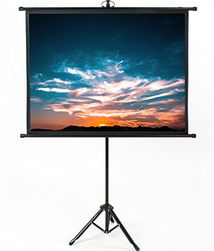 VIVO 50 inch Mini Portable Indoor Outdoor Projector Screen, 50 inch Diagonal Projection, HD 4:3 Projection Pull Up Foldable Stand Tripod, PS-T-050B