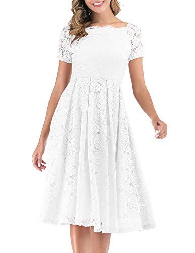 DRESSTELLS Damen Hochzeit Spitzenkleid Elegant Schulterfreier Cocktail Party Ballkleid White XS