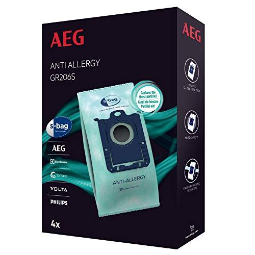 AEG GR206S Lot de 4 Sacs d'aspirateur en Plastique pour AEG UltraSilencer, ClassicSilence, SilentPerformer, VX4, VX6, VX7, VX8