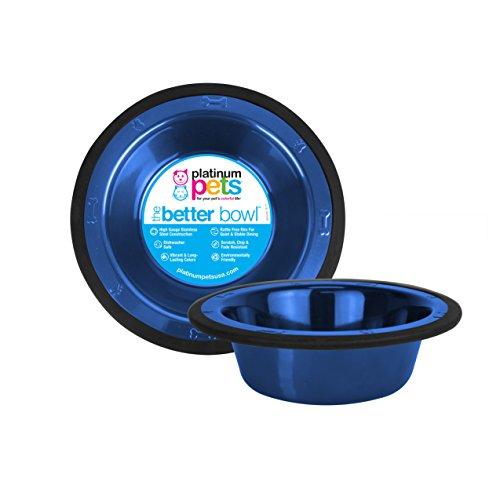 Platinum Pets 4Cup Edelstahl mit breitem Rand Schale, blau