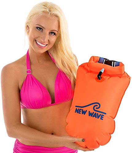 New Wave Swim Buoy - Swim Safety 20L Orange PVC Float with Drybag for Open Water Swimmers Triathletes Kayakers Snorkelers, Open Water Swim Buoy Float for Safer Swim Training (PVC 20 Liter Orange)