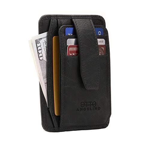 Otto Angelino Portafoglio da Uomo Ultra Slim in Pelle - con Blocco RFID - con chiusura a scatto, porta carte, documenti, porta monete con zip. Disponibile in vari colori.