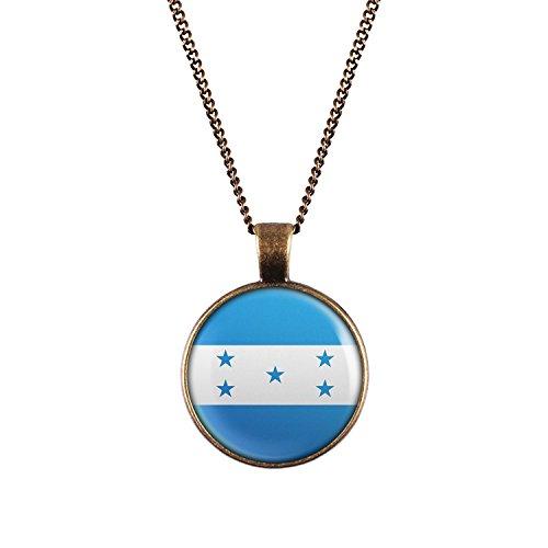 WeAreAwesome Honduras Flagge Halskette - Länderkette Südamerika mit Fahne Anhänger Unisex Kette